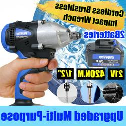 21V Cordless 6000mAh Impact Compact Wrench Rechargeable Auto