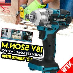 """Cordless Brushless Impact Wrench 18V 520Nm 1/2"""" Adapted to M"""