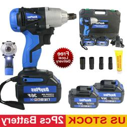 Cordless Impact Wrench 1/2 inch With 2 Batteries Socket Set